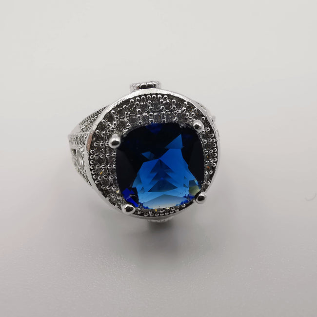 Tanzanite Blue Gem Ring - 24K White Gold Plate - Offer Hunts