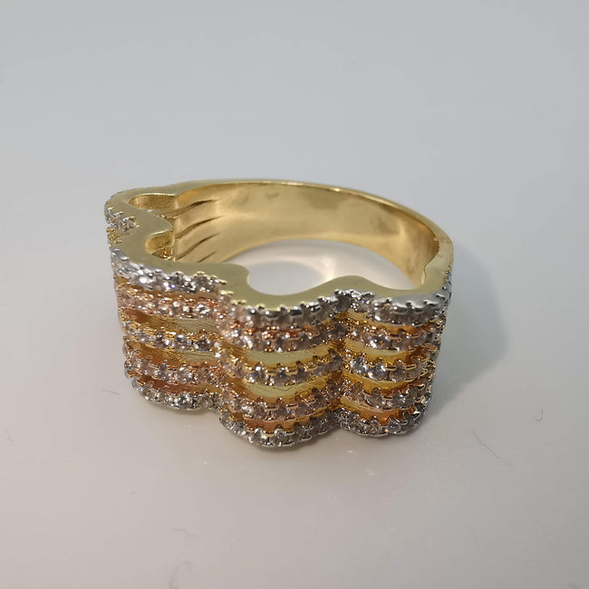 Tri Color Quad Wave Ring - 24K Gold Plate - Offer Hunts