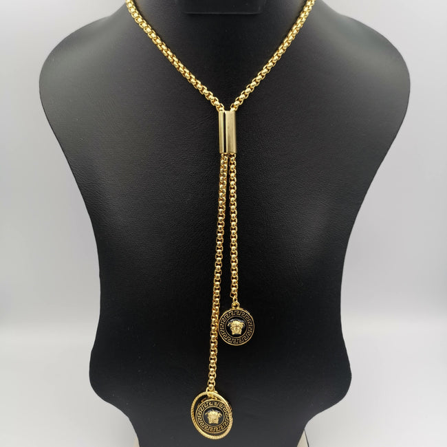 24K Gold Plated Versac.e Dual Danglers Necklace - Offer Hunts