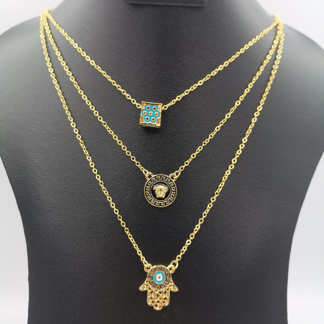 24K Gold Plated 3 Layer Necklace - Offer Hunts