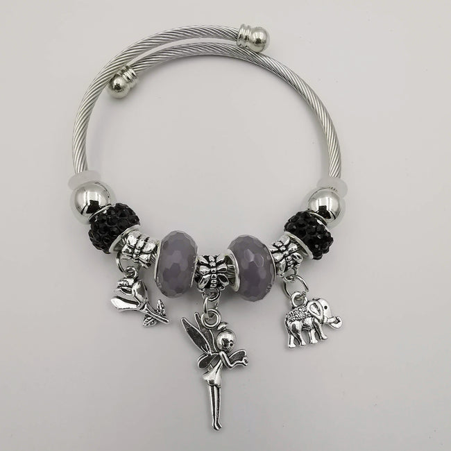 Crystal Charm Bracelet [Elephant+Fairy+Rose] - Multiple Colors - Offer Hunts