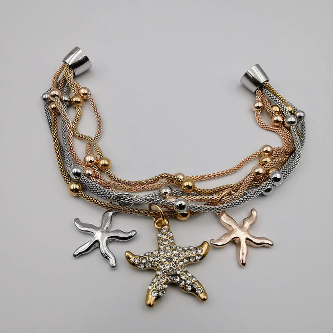 14K Gold Plated Starfish Charm Bracelet - Magnetic Clasp - Offer Hunts