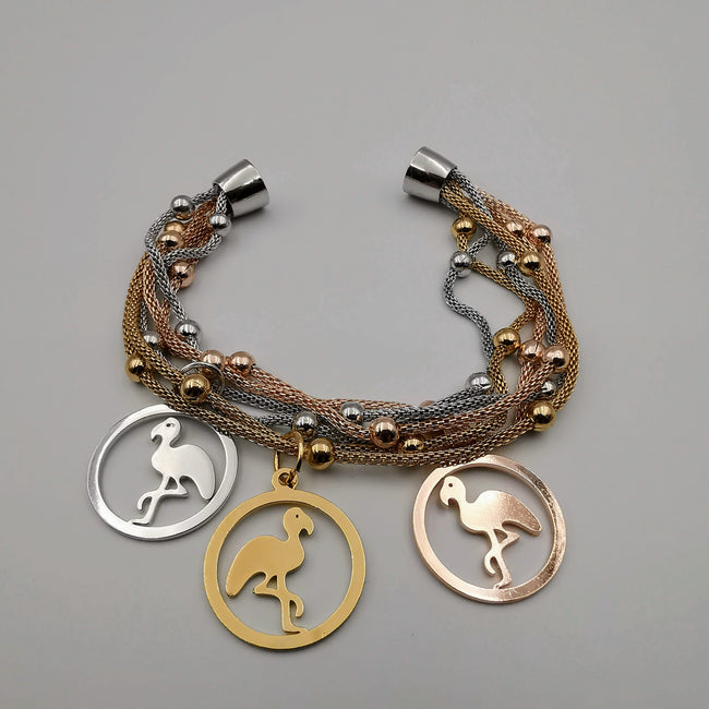 14K Gold Plated Flamingo Charm Bracelet - Magnetic Clasp - Offer Hunts