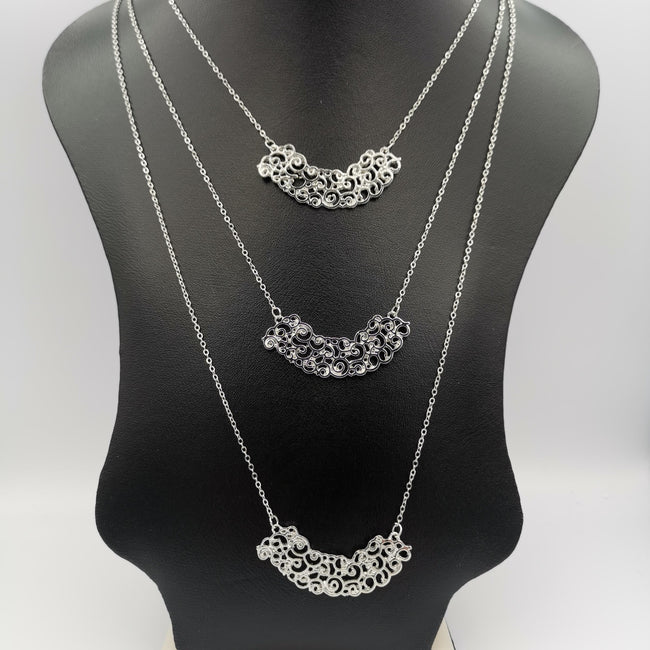 Thick Clouds 3 Layer Necklace - Golden and Silver - Offer Hunts