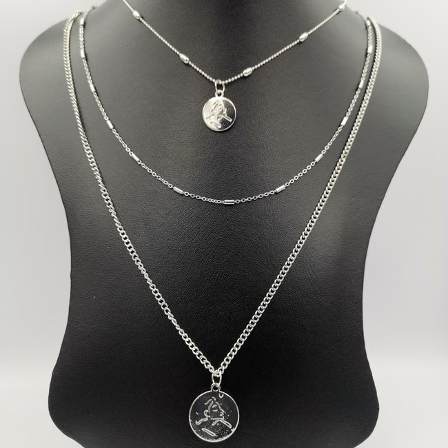 Minimalism Round Dangler 3 Layer Necklace - Golden and Silver - Offer Hunts