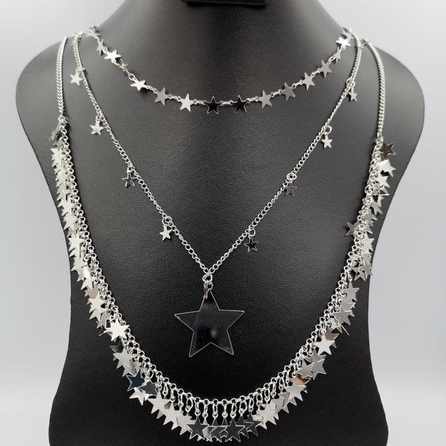Heaven Star 3 Layer Necklace - Golden and Silver - Offer Hunts