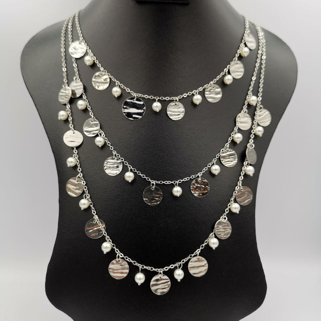 Virtuous Pearl 3 Layer Necklace - Golden and Silver - Offer Hunts