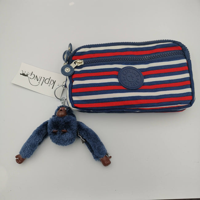 Kipling Blue Red Striped Purse - Offer Hunts