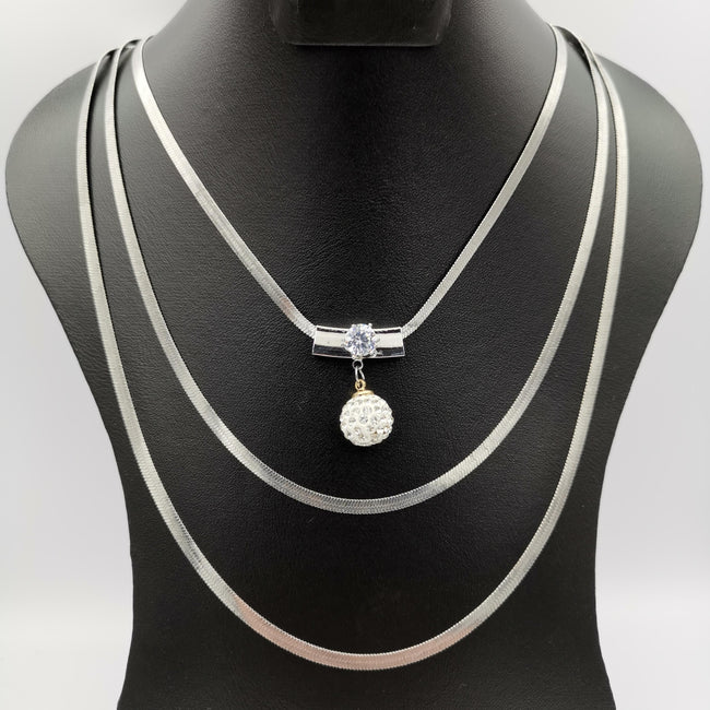 Crystal Ball 3 Layer Necklace - Golden and Silver - Offer Hunts