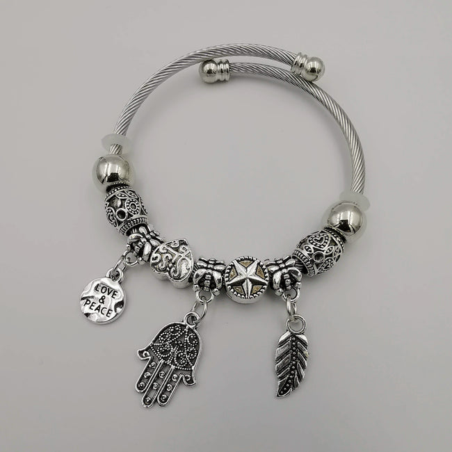 Silver Charm Bracelet [Feather + Elephant + Peace] - Adjustable Size - Offer Hunts