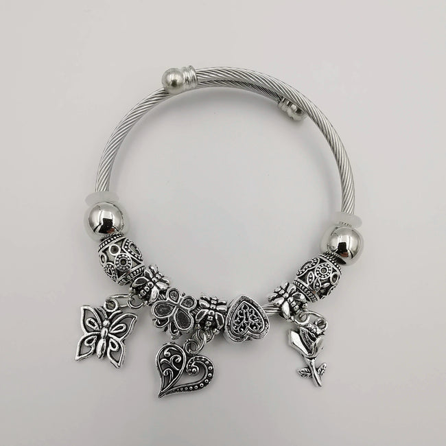 Silver Charm Bracelet [Butterfly + Rose + Heart] - Adjustable Size - Offer Hunts