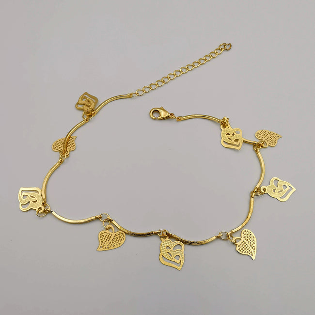 18K Gold Plated Double Hearted Anklet - Offer Hunts