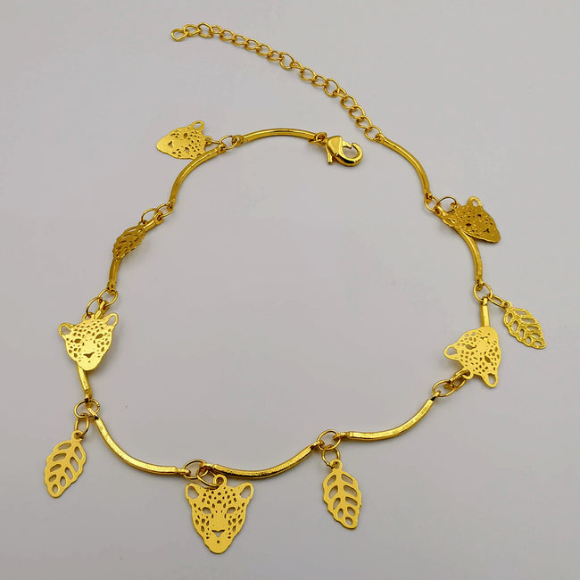18K Gold Plated Tiger Leaf Anklet - Offer Hunts