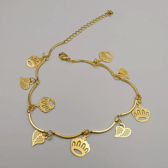 18K Gold Plated Heart Crown Anklet - Offer Hunts