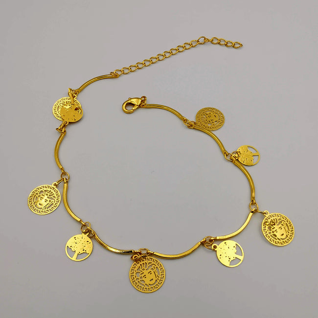 18K Gold Plated Versac.e Tree of Life Anklet - Offer Hunts
