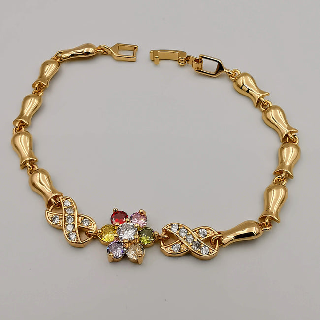 24K Gold Plated Infinite Floral Bracelet - CD - Offer Hunts