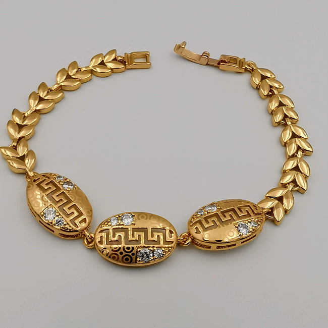 24K Gold Plated Enchanted Engraved Oval Bracelet - CD - Offer Hunts