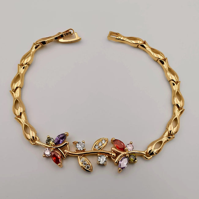 24K Gold Plated Colorful Branch Bracelet - CD - Offer Hunts