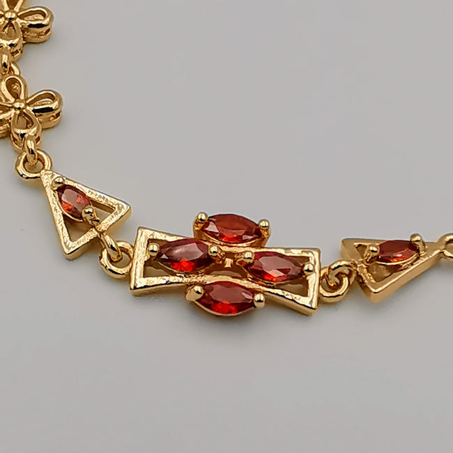 24K Gold Plated Ruby Cross Bracelet - CD - Offer Hunts