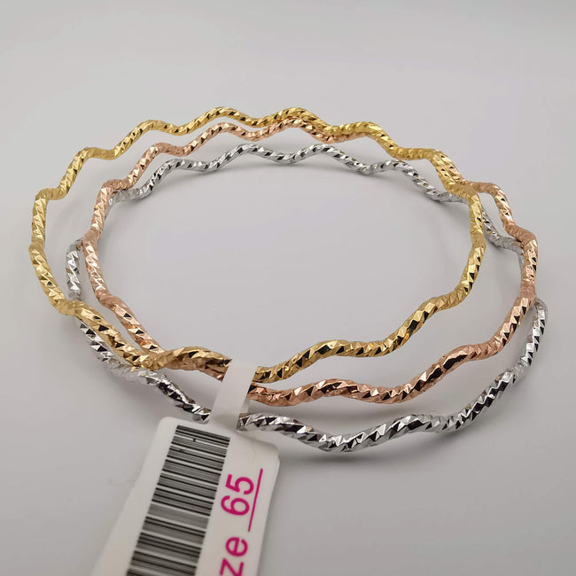 18K Gold Plated Bracelet Set [3-Pieces] - Gold + Rose Gold + White Gold - SIZE 65 - Offer Hunts