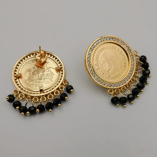 24K Gold Plated Coin Black Stones with Diamonds Earrings - Offer Hunts