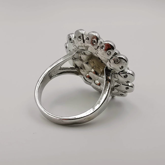 Floral Multi Petal Ring - 18K White Gold Plate - SIZE 10 - Offer Hunts