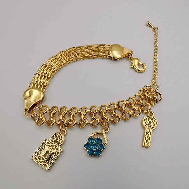 24K Gold Plated Flower Key Bracelet - Offer Hunts