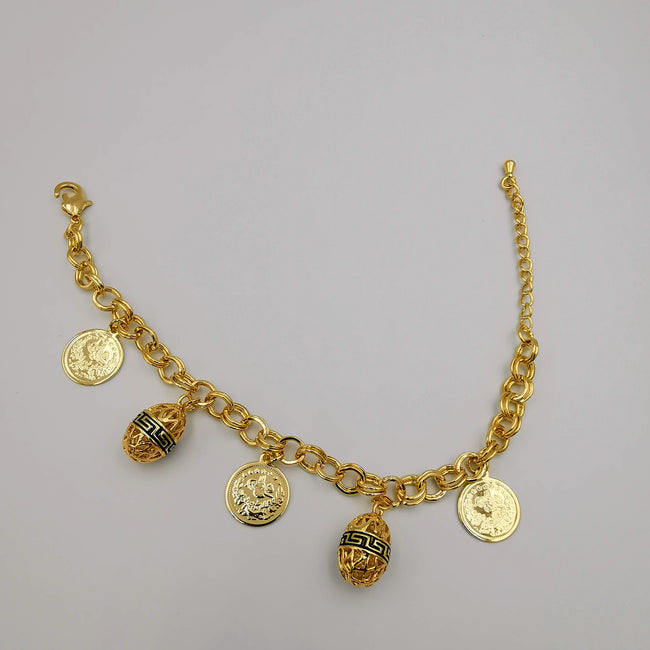 24K Gold Plated Egg Coin Bracelet - Offer Hunts