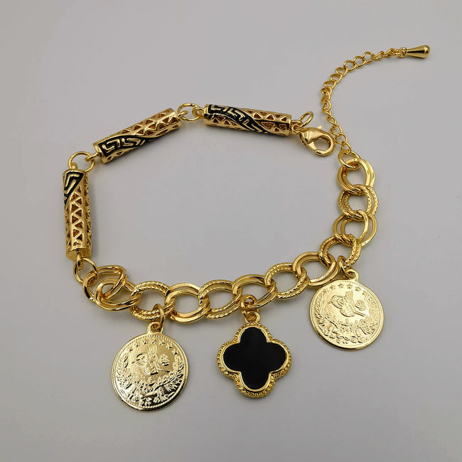 24K Gold Plated Van Cl.eef Coin Bracelet - Offer Hunts