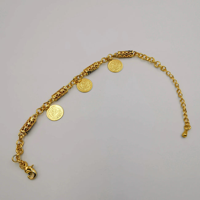 24K Gold Plated Small Coin Versac.e Bracelet - Offer Hunts