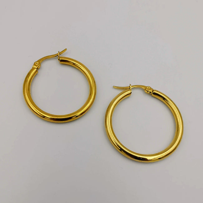 24K Gold Plated Round Earrings - Multiple Sizes - Offer Hunts