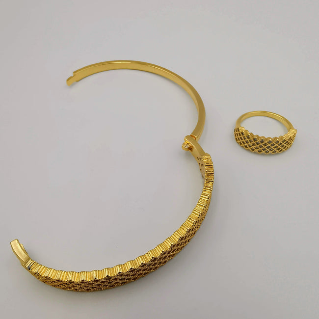 24K Gold Plated Bracelet and Ring Size 17 Set - Offer Hunts