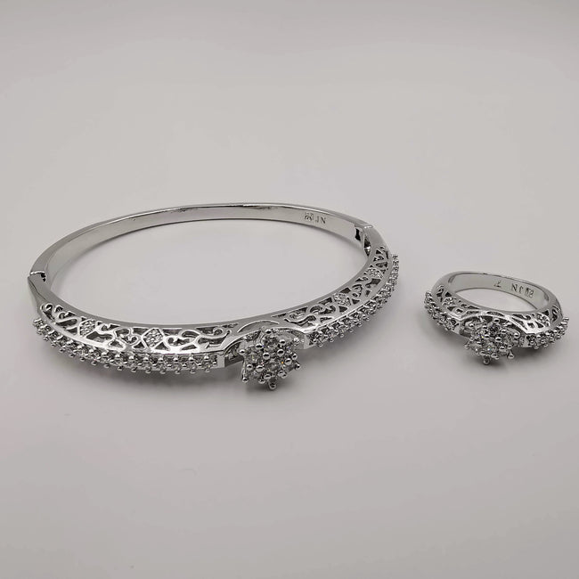 24K White Gold Plated Bracelet and Stone Ring Size 17 Set - Offer Hunts