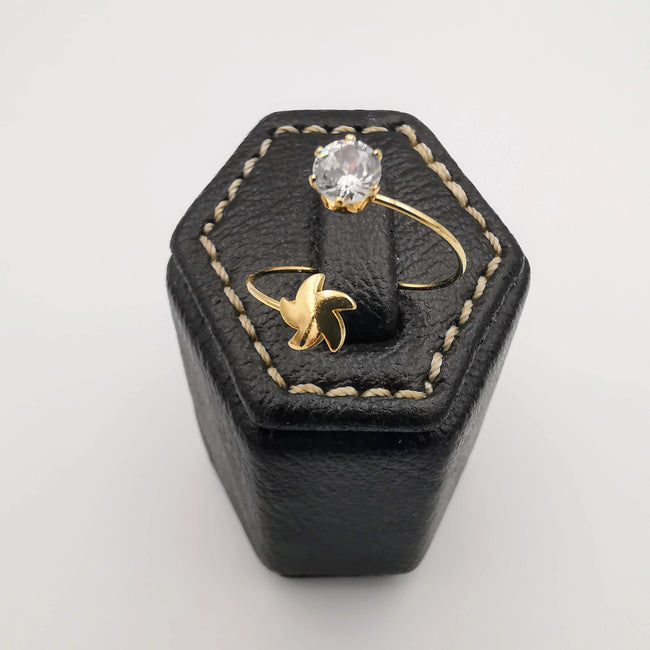 Star Adjustable Fashion Ring - Golden Color [R006] - Offer Hunts