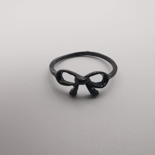 Bowtie Knuckle Midi Tea Fashion Ring - SILVER, GOLDEN, BLACK [R008] - Offer Hunts