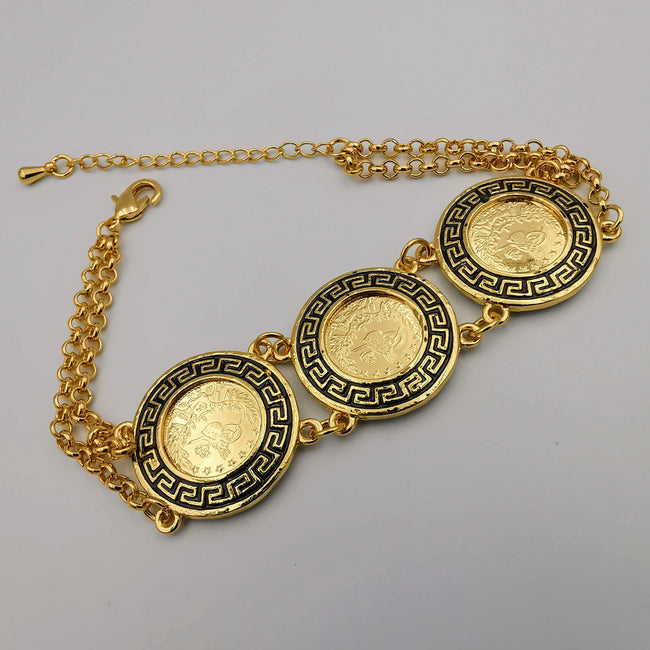 24K Gold Plated Tri-Coin Bracelet - Offer Hunts