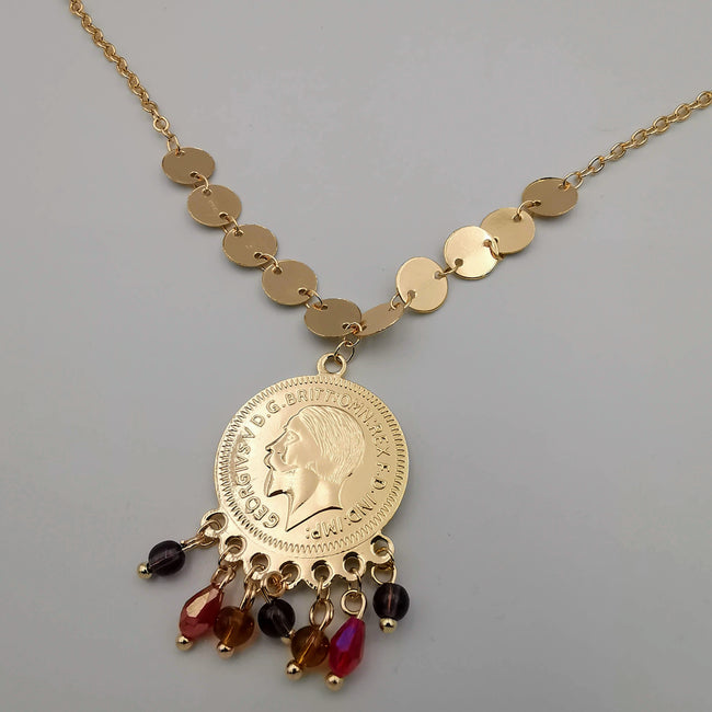 24K Gold Plated Colorful Dangler Coin Necklace - Offer Hunts