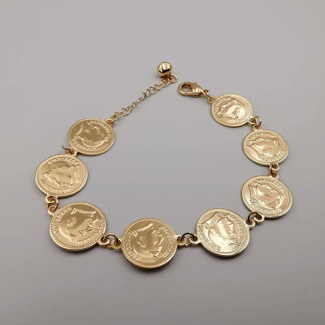 18K Gold Plated Coin Bracelet - Offer Hunts