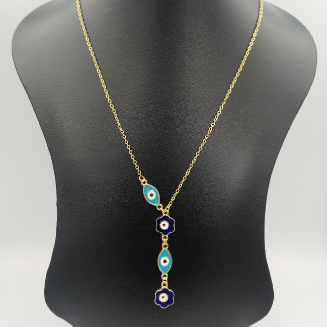 24K Gold Plated Dangling Eye Protector Necklace - Offer Hunts