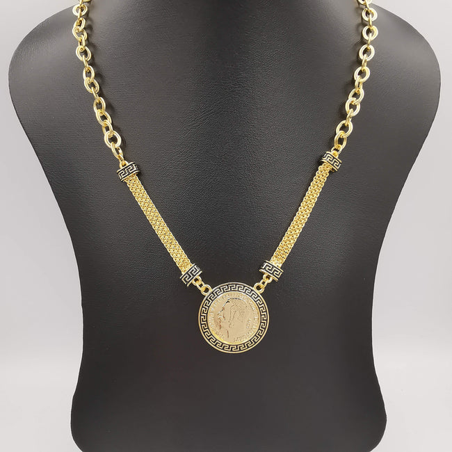 24K Gold Plated Versac.e Coin Flat Chain Necklace - Offer Hunts