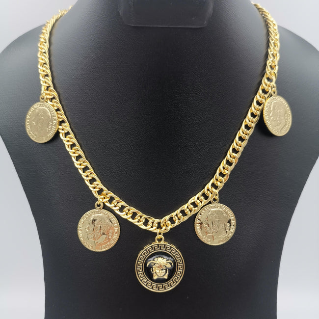 24K Gold Plated Versac.e Coin Chain Necklace - Offer Hunts