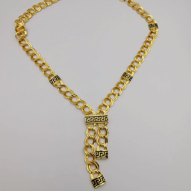 24K Gold Plated Versac.e Dual Chain Dangler Necklace - Offer Hunts