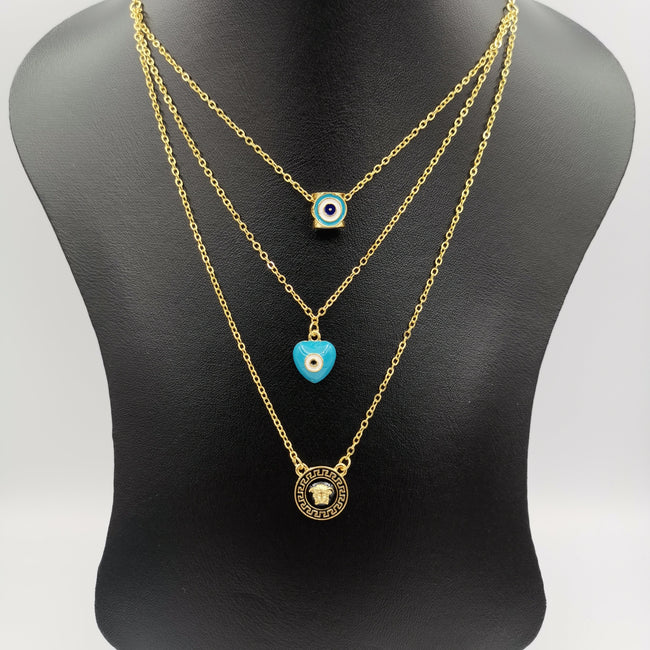 24K Gold Plated Versac.e Heart Dice 3 Layer Necklace - Offer Hunts