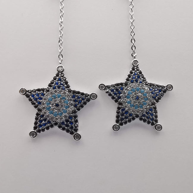 Silver Plated Star Dangling Earrings - Offer Hunts