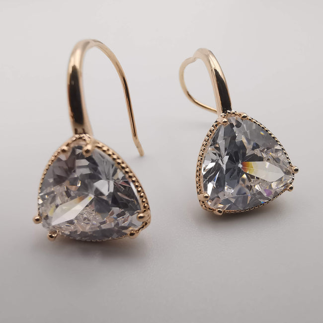 Gold Plated Triangle Simulated Diamond Earrings - Offer Hunts