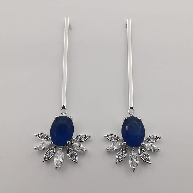 Silver Plated Blue Gem Stem Earrings - Offer Hunts