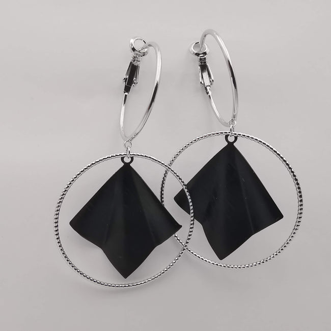 Silver Plated Double Round Earrings - Offer Hunts