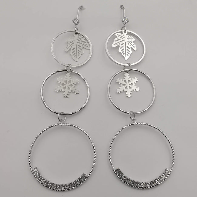 Silver Plated Tri-Circle Snowflake Earrings - Offer Hunts
