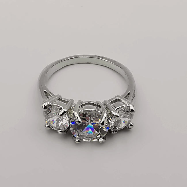 Silver Plated Tri-Diamond Ring [R009] - Offer Hunts