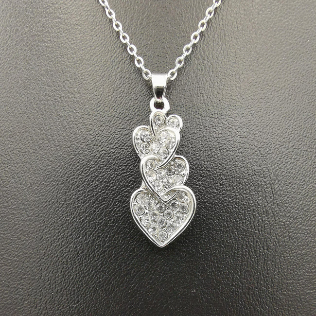 Triple Heart Necklace - Golden and Silver - Offer Hunts